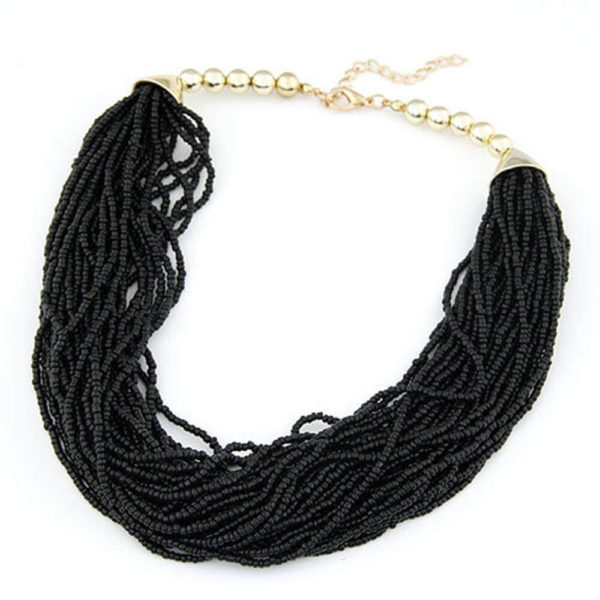 AN37Multi Layer Beaded Necklace – Black
