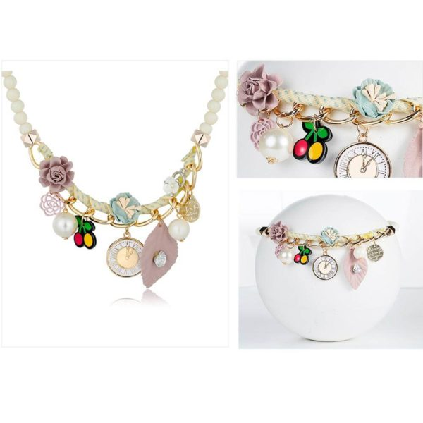 AN41Floral Fashion Necklace – Multi Colors