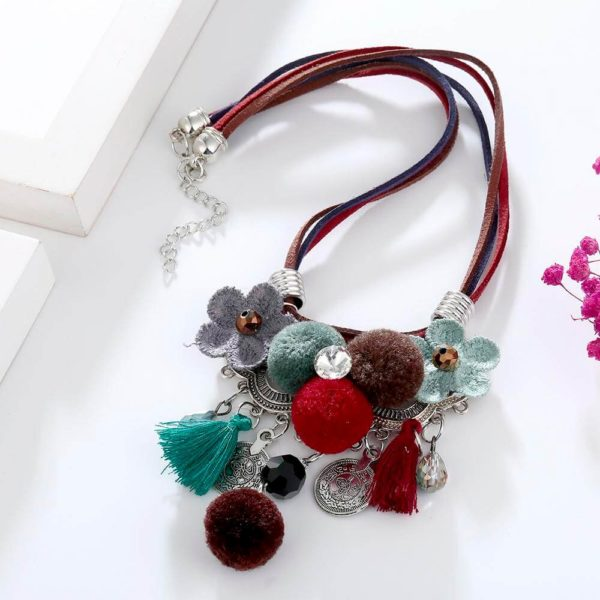 AN43 -Multi Color Necklace With Flowers and Tassels 2