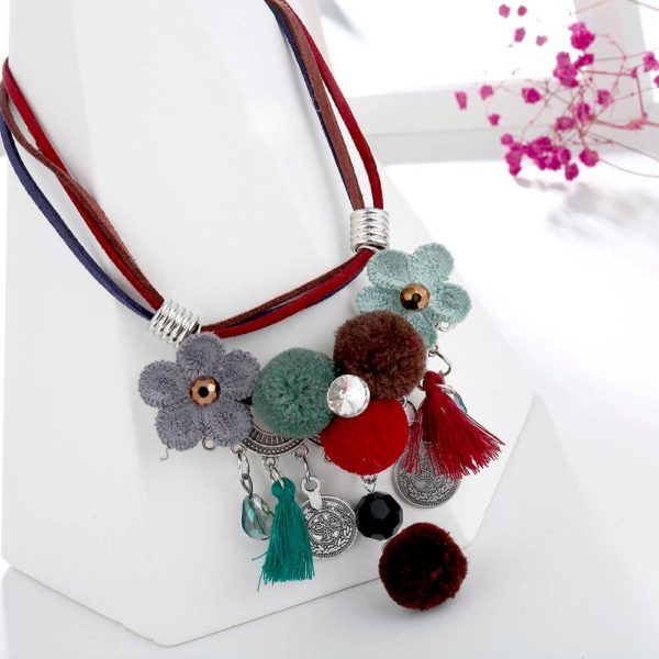 AN43 -Multi Color Necklace With Flowers and Tassels 3