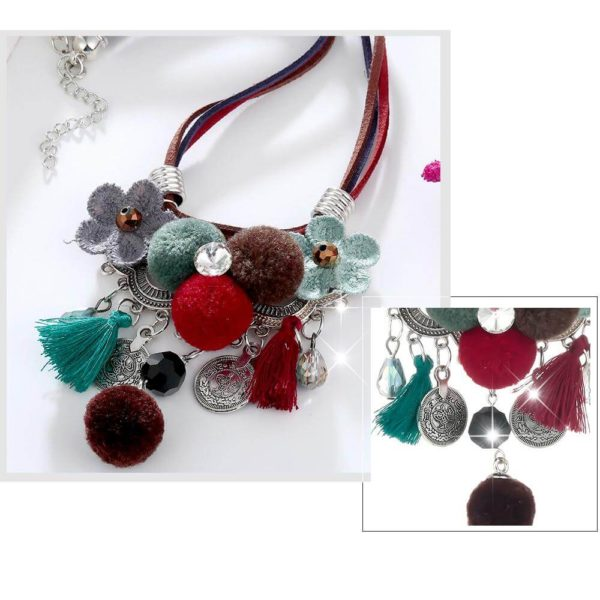 AN43 -Multi Color Necklace With Flowers and Tassels 6