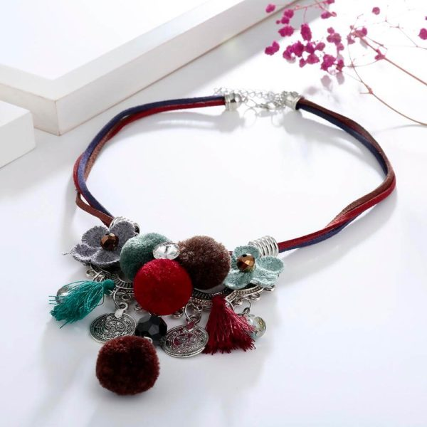 AN43 – Multi Color Necklace With Flowers and Tassels1