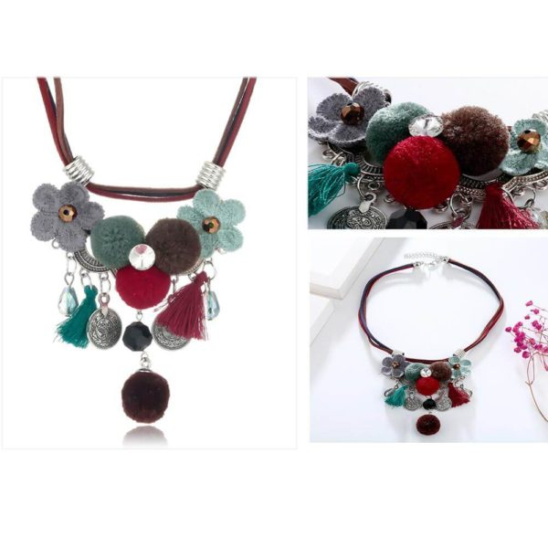 AN43 – Multi Color Necklace With Flowers and Tassels4