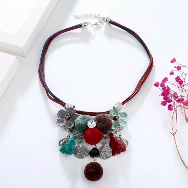 AN43Multi Color Necklace With Flowers and Tassels