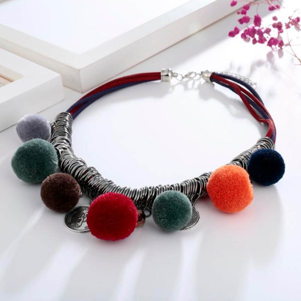 AN44 -Multi Color Ball Fashion Necklace – Latest Desgin 3