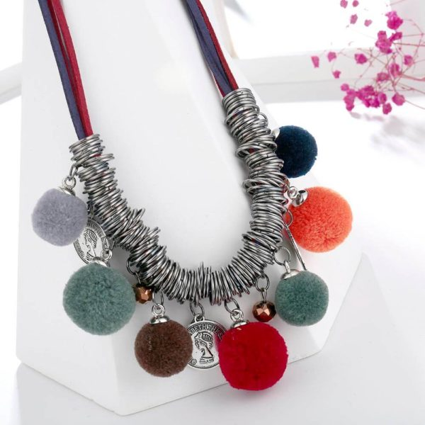 AN44 – Multi Color Ball Fashion Necklace – Latest Desgin1