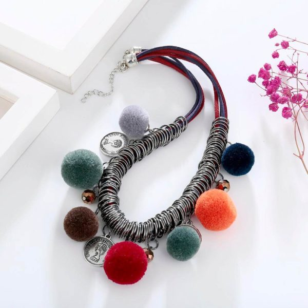 AN44 – Multi Color Ball Fashion Necklace – Latest Desgin2