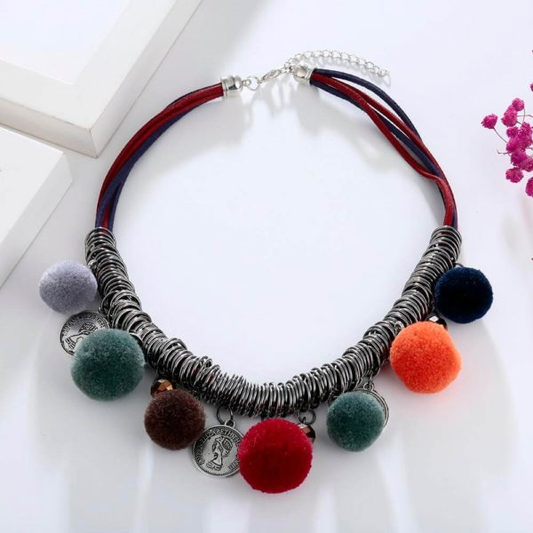 AN44 – Multi Color Ball Fashion Necklace – Latest Desgin4