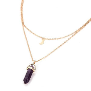 Double Chain Gold Necklace With Pendant Moon