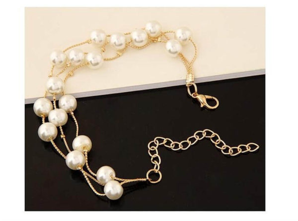 AS06 – Pearl Gold Jewelry Set Includes Necklace Earings and Bracelet 1