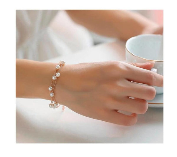 AS06 – Pearl Gold Jewelry Set Includes Necklace Earings and Bracelet2