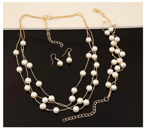 AS06 – Pearl Gold Jewelry Set Includes Necklace Earings and Bracelet3