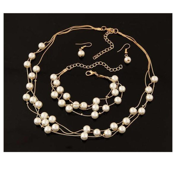AS06 – Pearl Gold Jewelry Set Includes Necklace Earings and Bracelet4