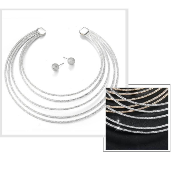 AS07 – Silver Metal Necklace With Matching Earring For Party2