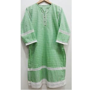 Green Cotton Lawn Kurti Top With Front Bottons