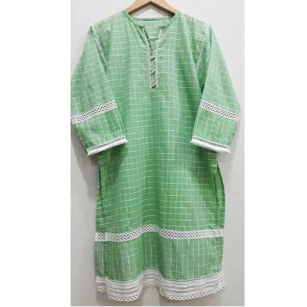 BJK11 Green Cotton Lawn Kurti Top With Front Bottons