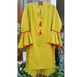 Brochia Lawn Kurti With Front Tassel