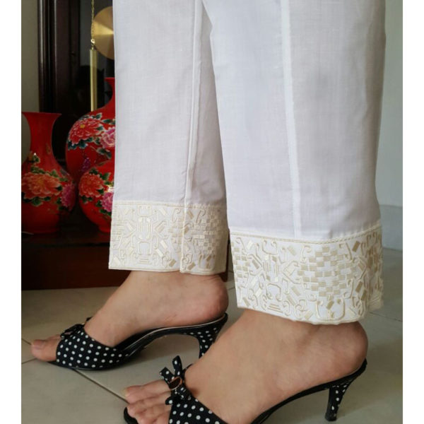 KT07 whiteTrouser With Gold Embroidery