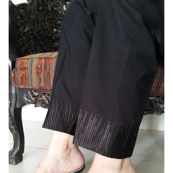KT09 Black Trouser With Embroidery