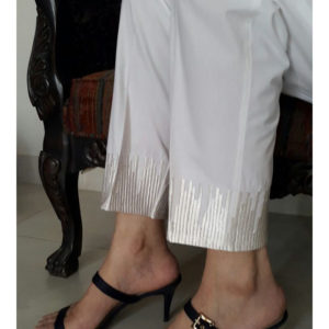 white Trouser With Embroideryweb