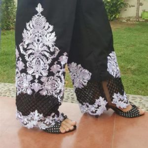 embroided cotton palazzo stylish trouser black