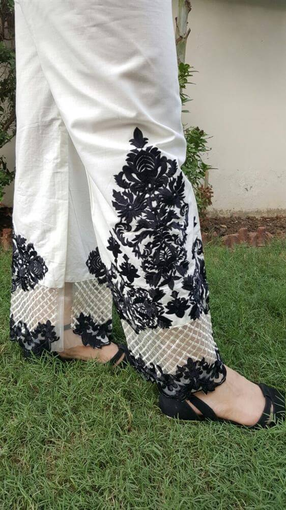 embossed cotton palazzo stylish trouser-off-white