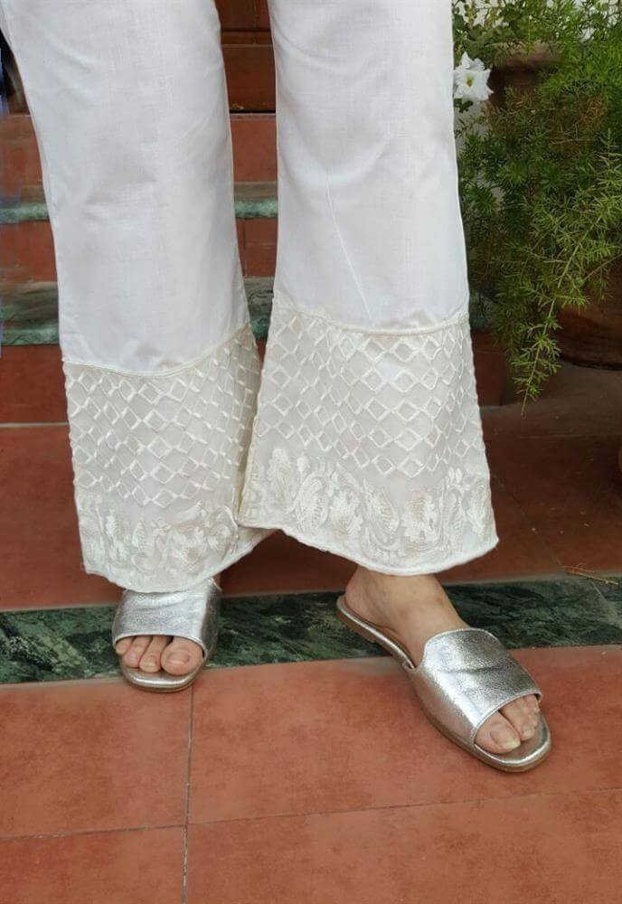 embossed cotton palazzo stylish trouser off white
