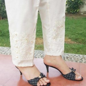 embossed cotton palazzo stylish trouser white