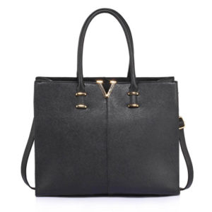 black fashion tote bag
