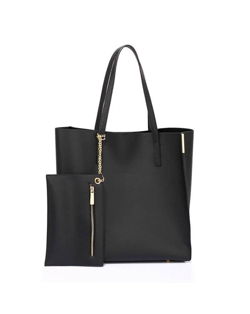 black tote bag with removable pouch