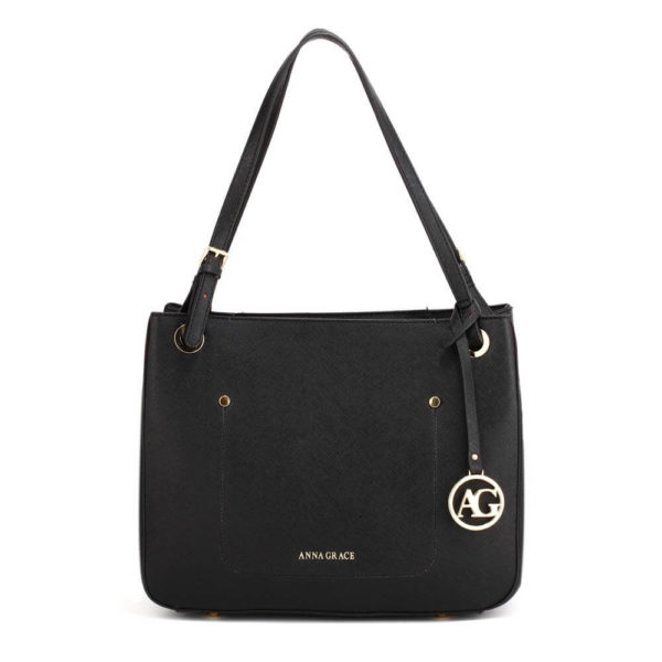 ag00570 – black anna grace fashion tote handbag