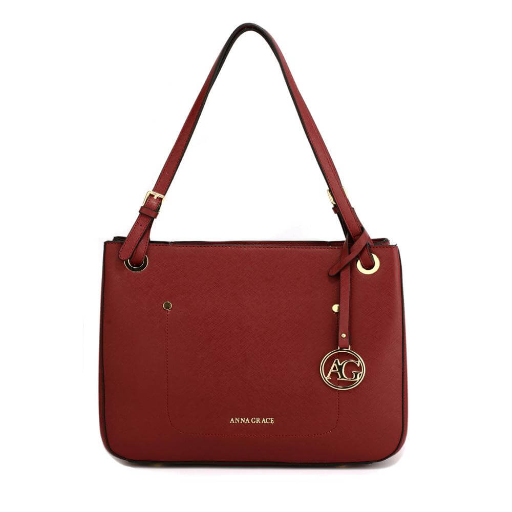 burgundy anna grace fashion tote handbag
