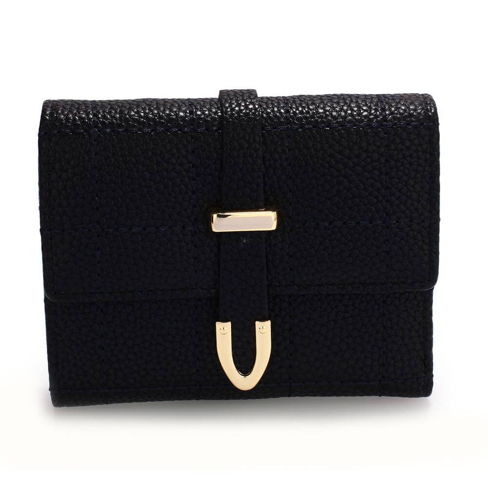 black flap purse wallet with gold metal work