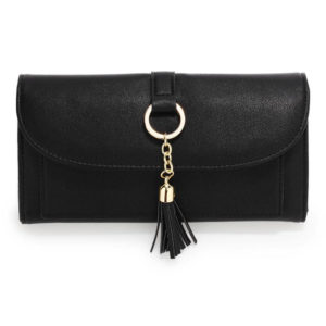 black flap purse wallet with tassel