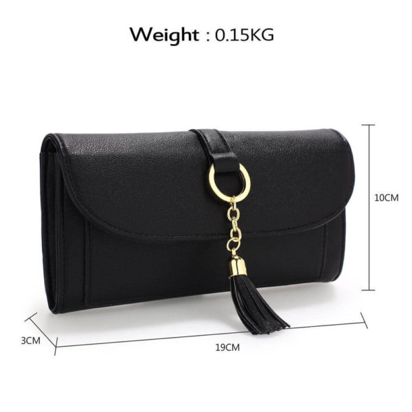 agp1091 – black flap purse wallet with tassel_2_