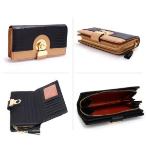 black nude twist lock crocodile purse wallet with tassel