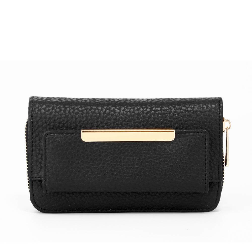 black zip around purse wallet