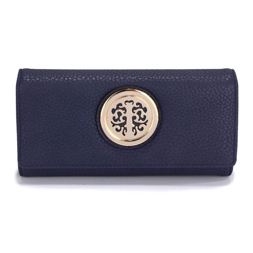 navy purse wallet with metal decoration