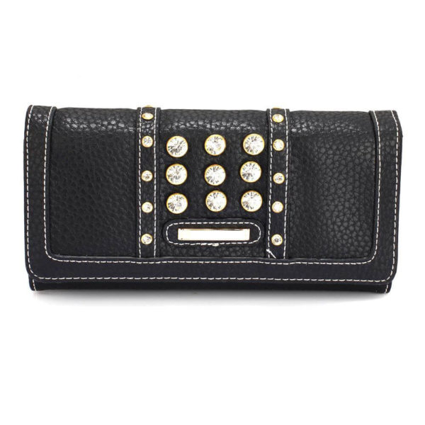 lsp1041a – black purse wallet with crystal decoration