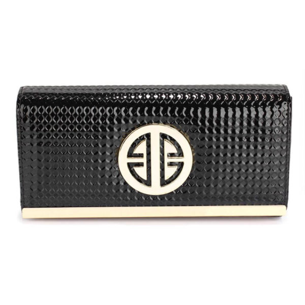 black purse wallet with metal detail