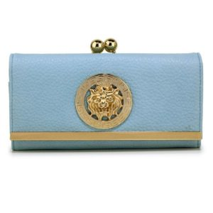 blue kiss lock purse wallet with metal decoration