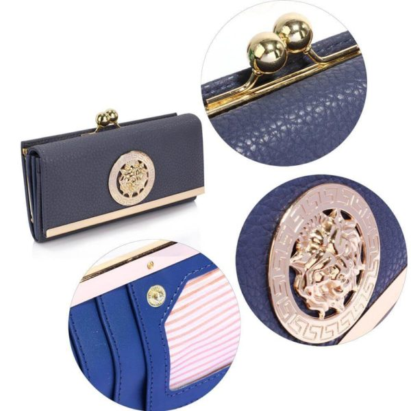 lsp1068a -navy kiss lock purse wallet with metal decoration_5_