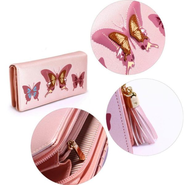 lsp1082 – pink butterfly design purse wallet_5_