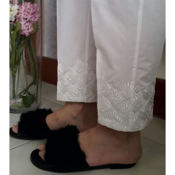 KT02 White Trouser With White Embroidery