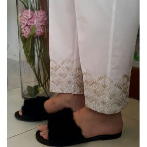 White Trouser With Gold Embroidery