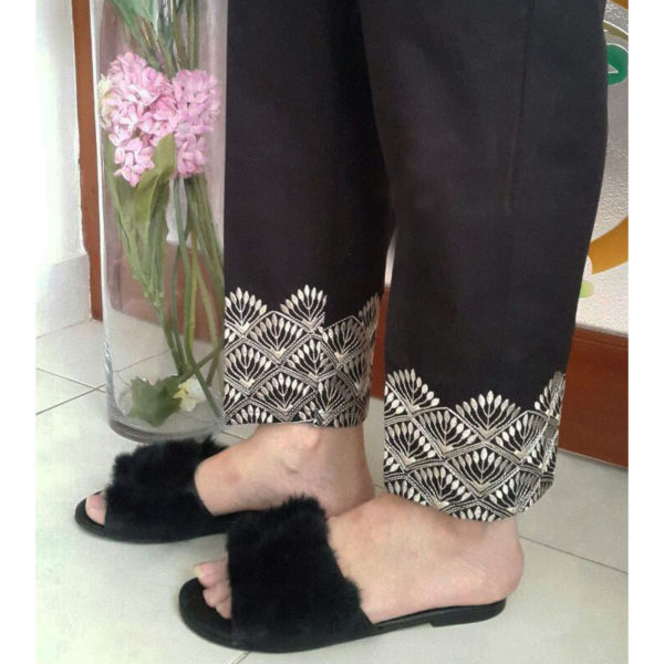 KT01 Black Trouser With Gold Embroidery