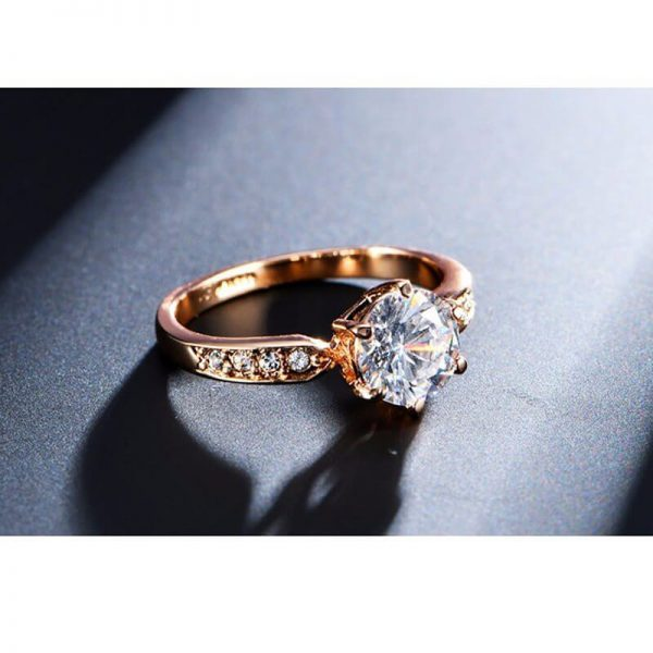 1.75 Carat Zircon Rose Gold Glowing Diamante Ring