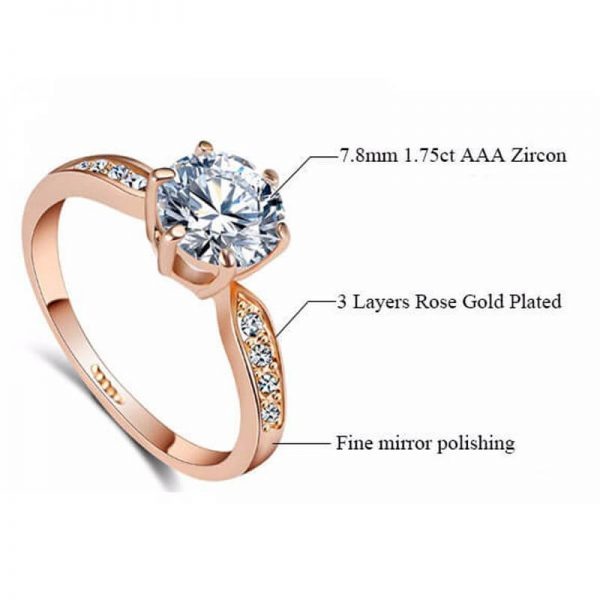 1.75 Carat Zircon Rose Gold Glowing Diamante Ring3