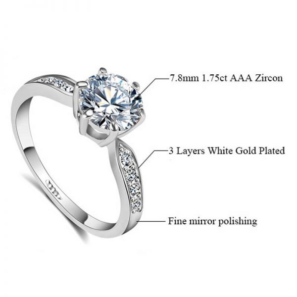 1.75 Carat Zircon Silver Glowing Diamante Ring2