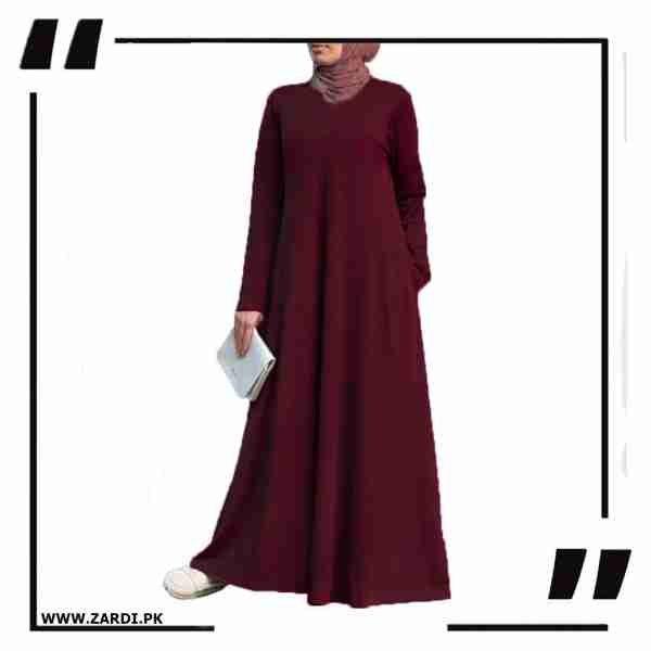AA02 mahroon new Layered Abaya
